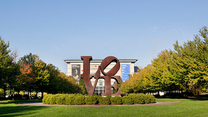 Love sculpture outside the museum