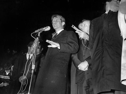 Kennedy giving his speech on the evening of April 4th, 1968