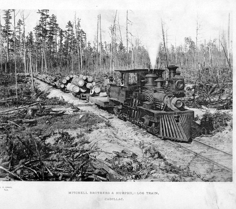 Historical photo of the Shay Locomotive as a log train.