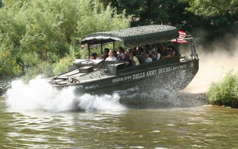 An action shot of the Army Duck transversing from land to water.  The most exciting moment for tourists.