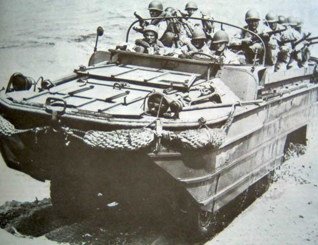 Historical picture of WWII Army amphibious vehicle.