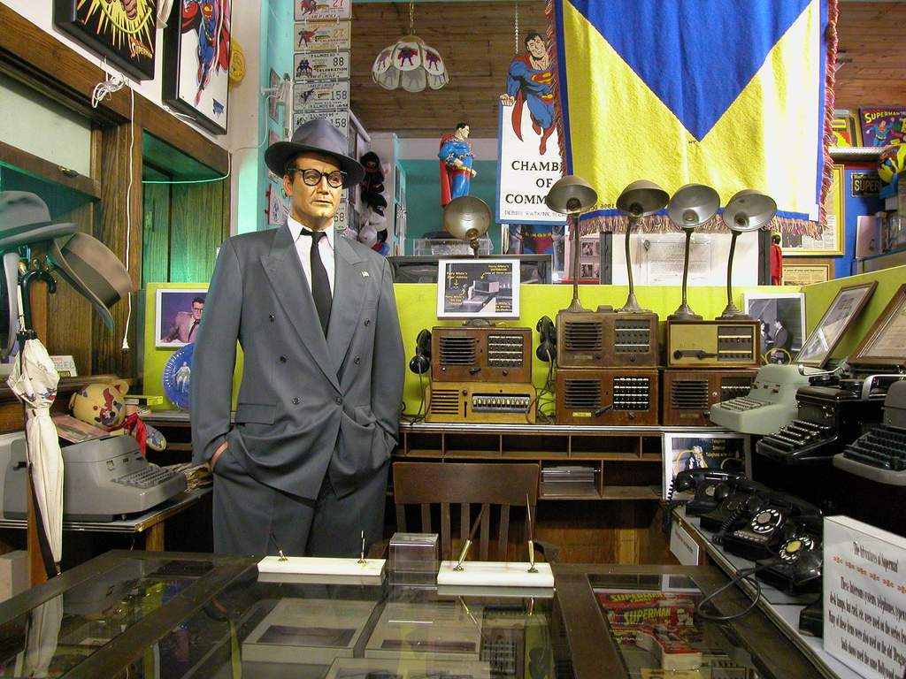 Display devoted to Clark Kent and props from the Daily Planet offices.