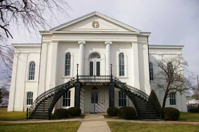 Exterior of the courthouse with grand staircases.