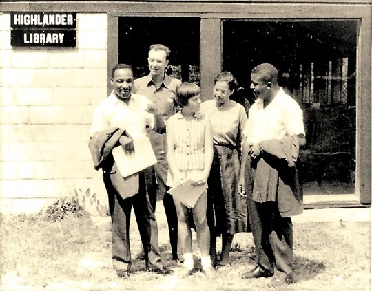 Picture of Martin Luther King, Bob Seeger, Rosa Parks and two others at the school