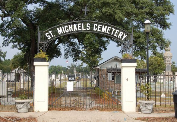 The main entry gates in front of St. Michael's Cemetery.