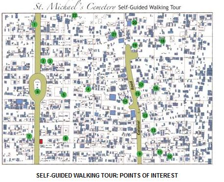 This map points out points of interest for the self guided walking tour.