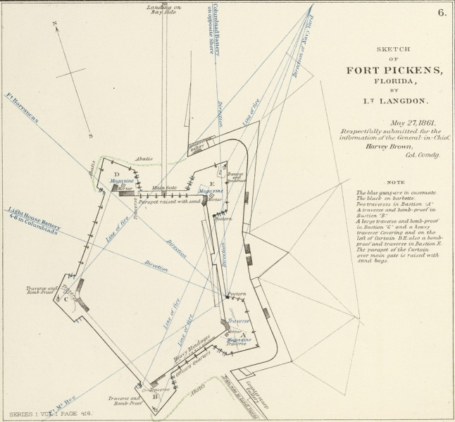 Map of Fort Pickens in 1861.