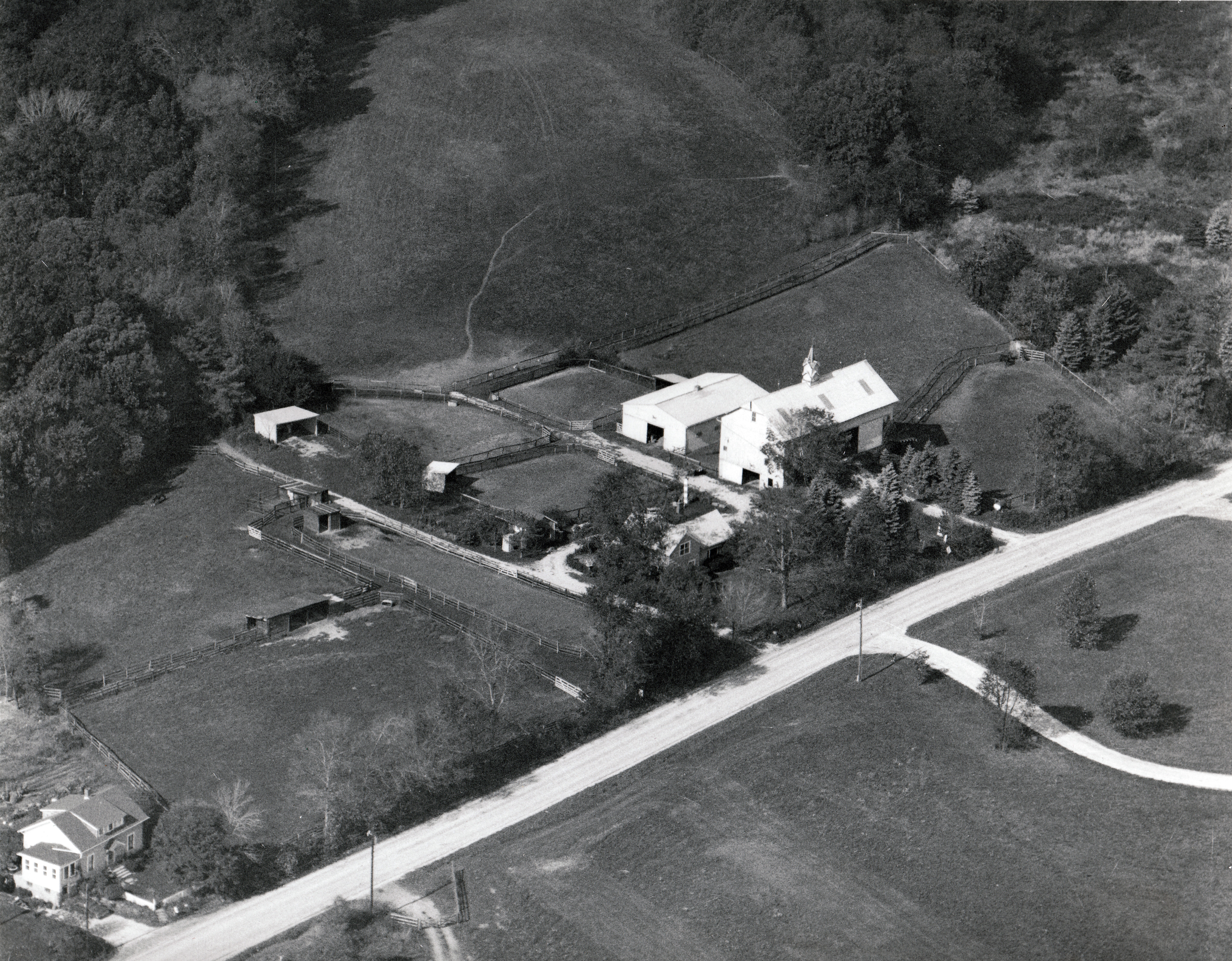 Another aerial view of the farm taken in 1968. The Quicks sold their orchards and the trees were removed.