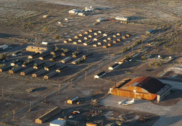 Aerial view of the former base.
