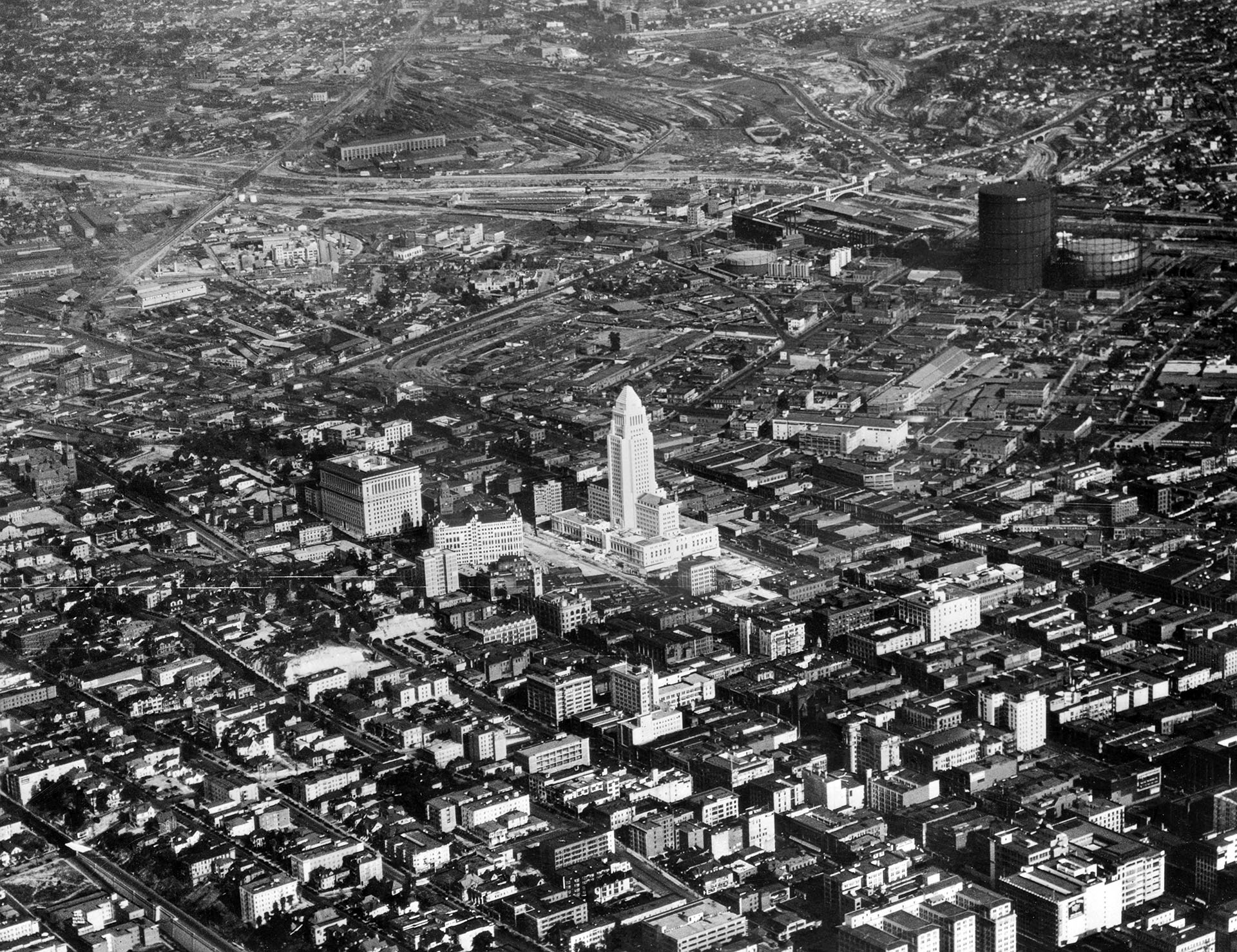 An Aerial View Featuring Los Angeles City Hall, 1928