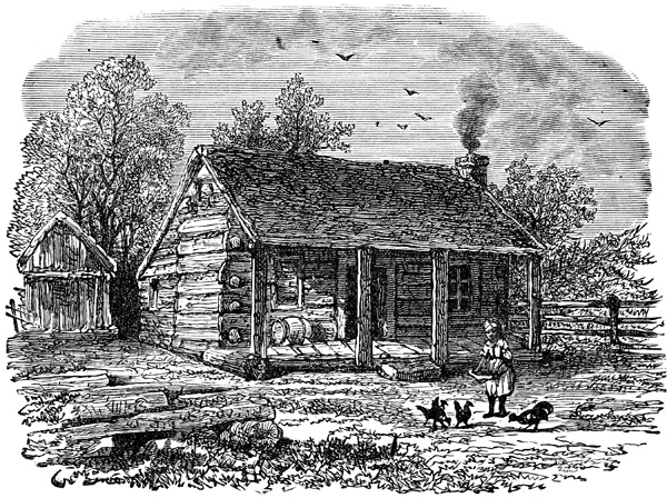 Depiction of Abraham Lincoln's home in Indiana