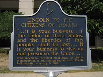This historic marker is located at 4th and Washington and was dedicated by the Indiana Historical Society on Feb 11, 1961.