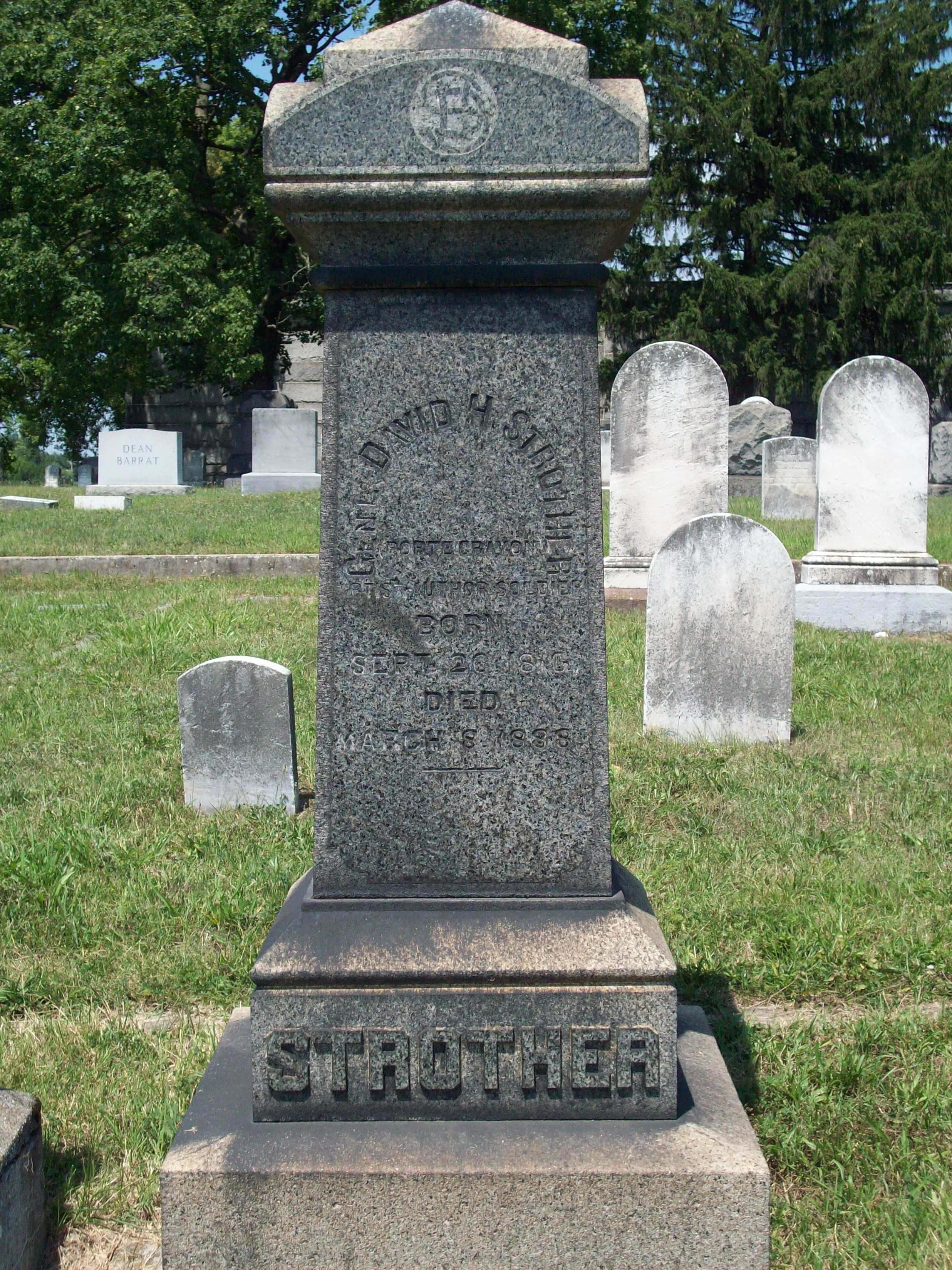 Gravesite of David Hunter Strother at Green Hill cemetery, Martinsburg, West Virginia.