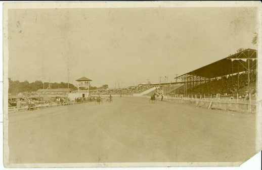 The horse track featured at Playland Park with the concrete grandstands that are still present in the area today.