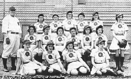 The 1943 Pennant Winners of the AAGPBL, the South Bend Blue Sox, who called Bendix Field home that year.