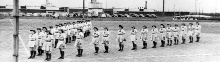 "Prior to games, to support the war, teams would form a Victory ""V,"" this is prior to a game at Bendix Field. (courtesy Center for History, South Bend)"