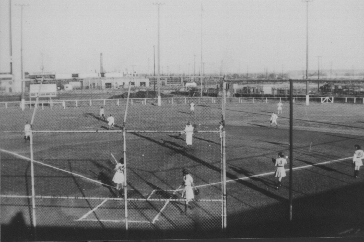 All-American Girls Professional Baseball League playing on Bendix Field (courtesy of Center for History, South Bend)