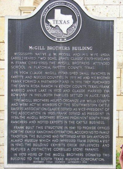 Historical marker in front of the building.
