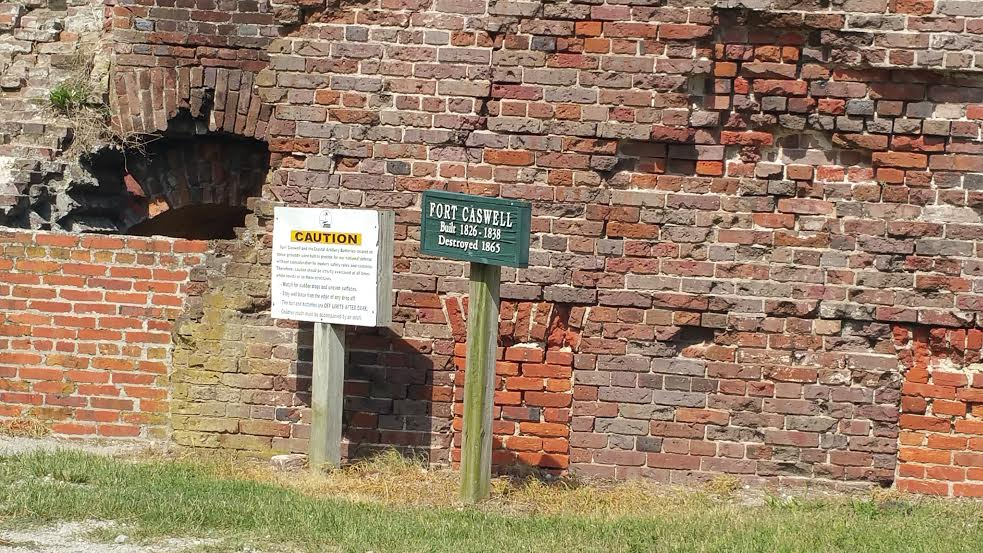 Construction on Fort Caswell began in 1826 and ended in 1838. It was set on fire in 1865 near the end of the Civil War.