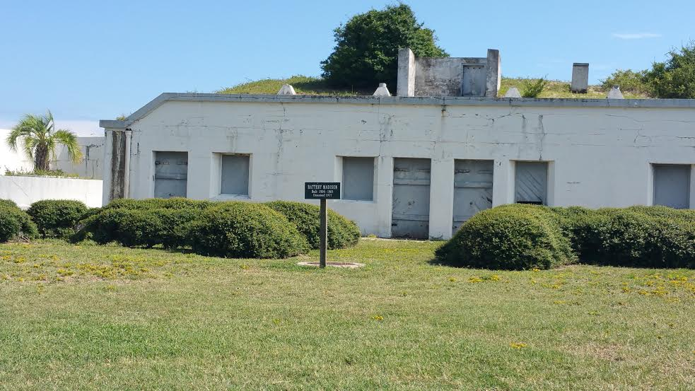 Fort Caswell was used in the Spanish American War, World War I and World War II. Here is a Battery Madison located within the fort that was built between 1904-05. It was disarmed in 1917.