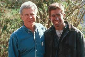 To the left is Homer Hickam, and to the right, is Jake Gyllenhaal who played Homer Hickam in the movie October Sky.