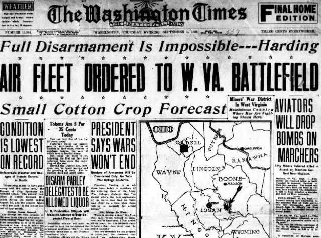 Washington Times, Sept 1, 1921, featuring a headline on the Battle of Blair Mountain.