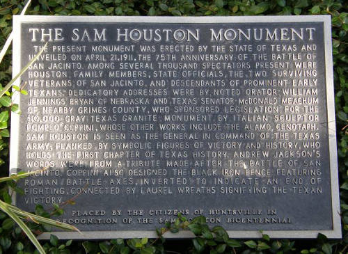 "Sam Houston monument plaque. ""Texas will again lift its head and stand among the nations. It ought to do so, for no country upon the globe can compare with it in natural advantages.""~~Sam Houston"