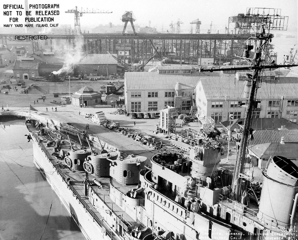 USS San Diego (CL 53) in Drydock #2 at Mare Island Naval Shipyard on 1 Nov 1945. Mare Island was home to the first drydock on the West Coast.