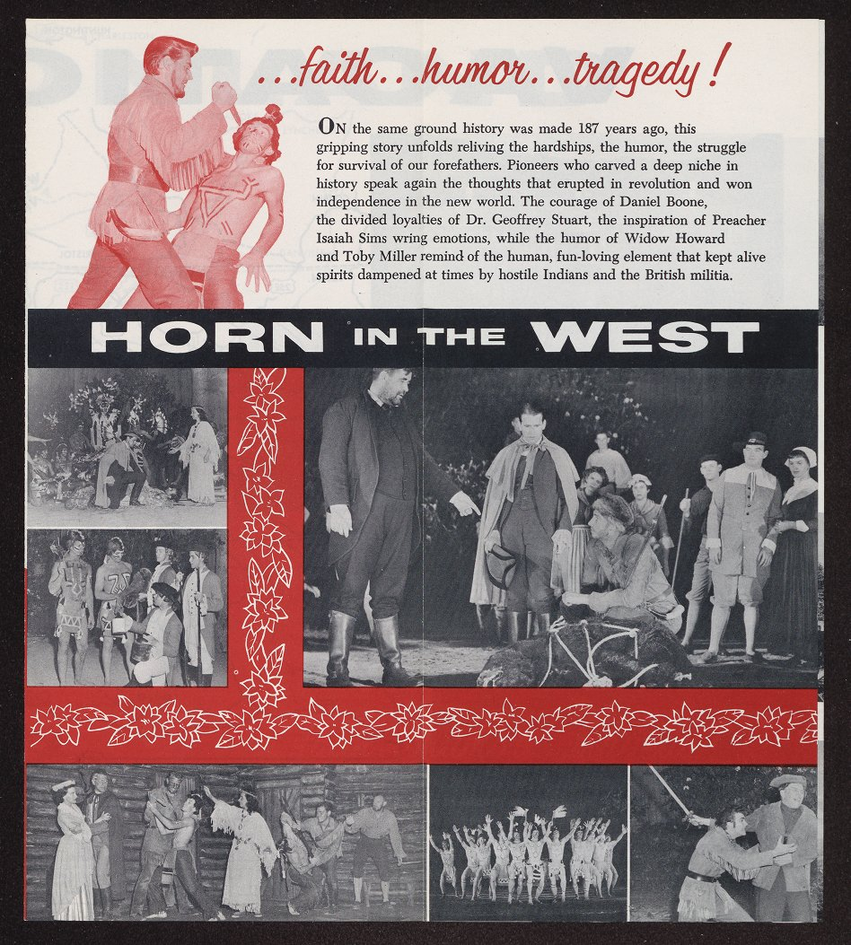 This 1958 pamphlet is one of several historical items related to Horn in the West available from the archives of East Carolina University. Click the link below to view those archives.