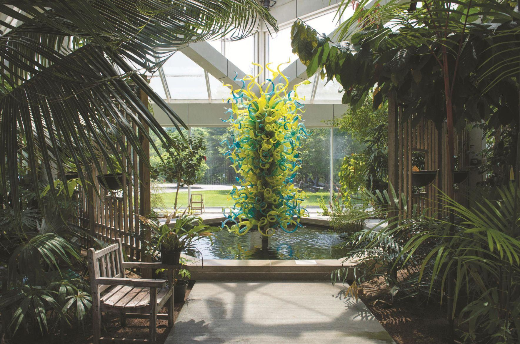 "The C. Fred Edwards Conservatory, featuring ""The Huntington Museum of Art Tower"" by renowned artist Dale Chihuly"