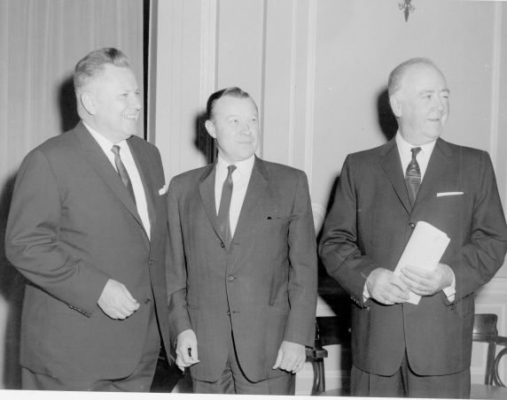John Fewkes (pictured on the left) with Walter Reuther, President of the United Auto Workers. The man on the right is William A. Lee, President of the Chicago Federation of Labor.
