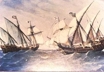 Example of Spanish Caravels that explored Florida's coast