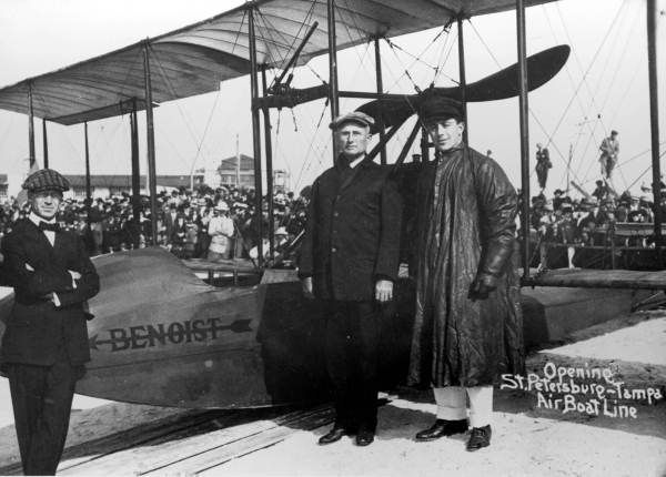 New Year's Day, 1914-Opening of the St. Petersburg-Tampa Airboat Line. Flying at an altitude of 50 feet, the flight took twenty-three minutes to cross the bay.