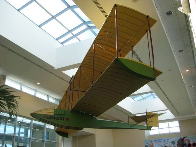 Visitors to the St. Petersburg-Clearwater International Airport can view a replica of Benoist's biplane seaboat.