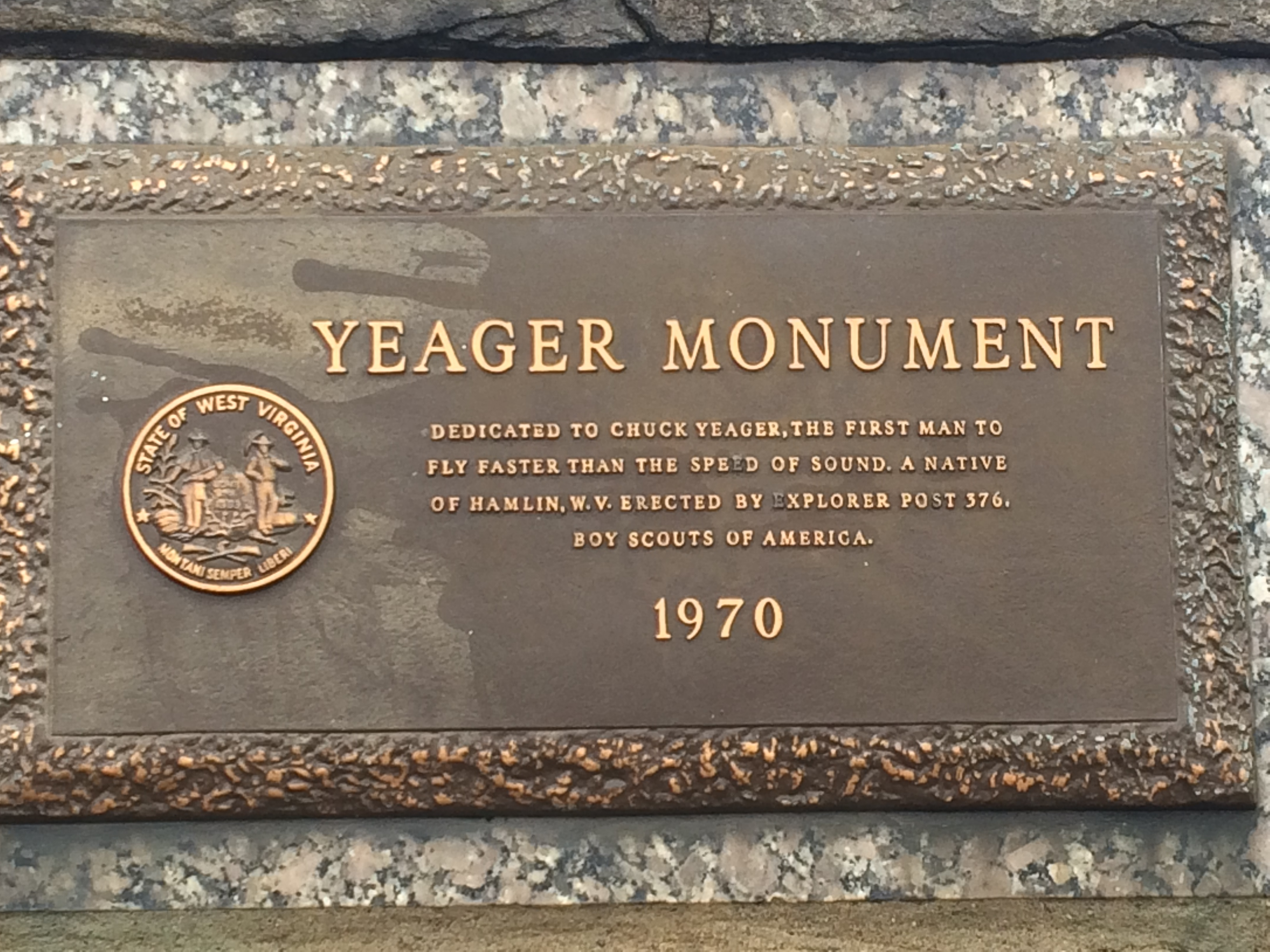 Plaque on the Chuck Yeager Memorial Rocket