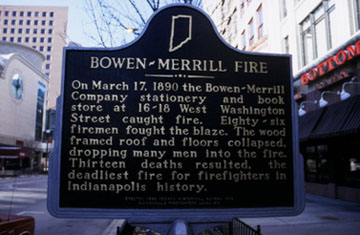 This historic marker was dedicated in 1999 by the Indiana Historical Bureau and Indianapolis Firefighters Local 416