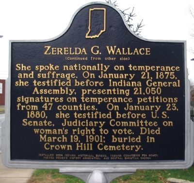 Zeralda Wallace was a leading advocate of temperance and an early voice for women's suffrage. This marker is located outside of Central Christian Church where she was a leading member.