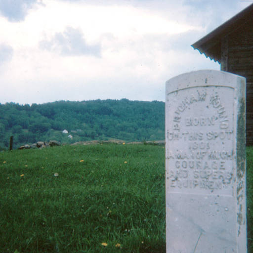 Headstone shaped marker indicating where Brigham Young born