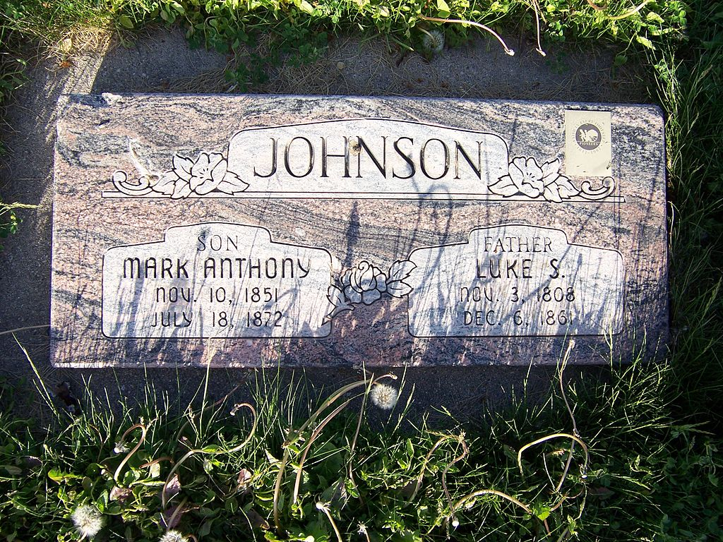 Grave marker for Luke Johnson and one son located in Salt Lake City