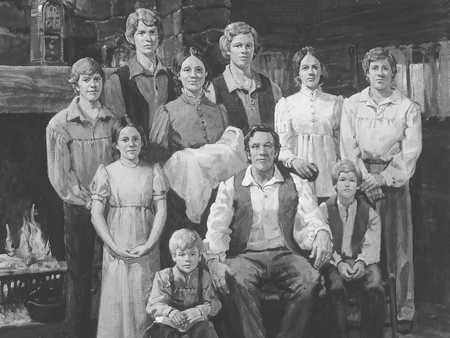 An artist's rendering of what the Smith family would have looked like after moving to New York from Vermont. Hyrum would be in the center standing, Samuel sitting to the left of father Joseph Sr., Joseph Jr., standing to the right of mother.