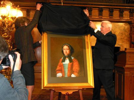 The unveiling of a painting of Hannah, commissioned by PA governer Tom Corbett in 2014