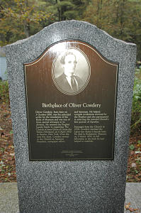 Oliver Cowdery monument on spot where he was believed to have been born in Wells.