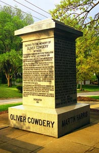 Three Witnesses Monument in Richmond, Missouri, where Cowdery died.