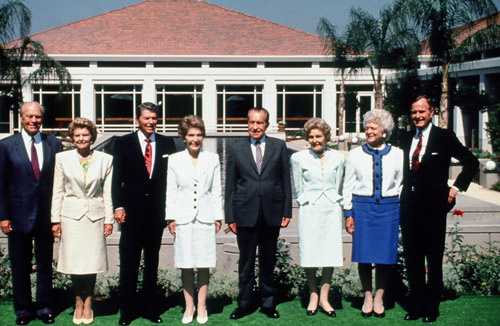 Gerald and Betty Ford, Ronald and Nancy Reagan, Richard and Patricia Nixon, and Barbara and George Bush Attend the Opening of the Nixon Library, 1990