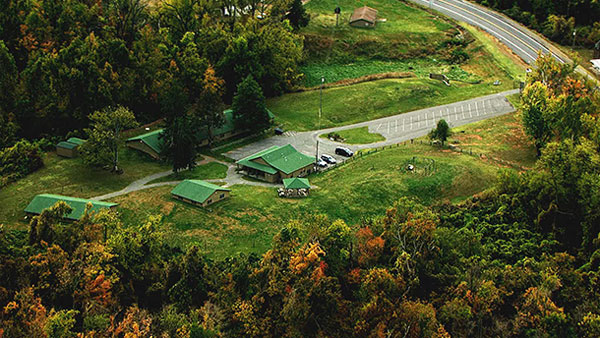 Overhead shot of the museum, out buildings and mounds.