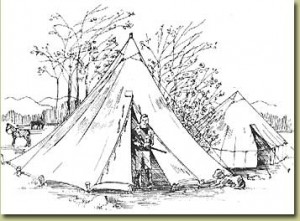 A conical Sibley tent used by troops at Camp Hopkins