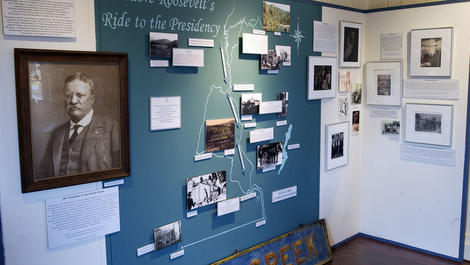 The display about Theodore Roosevelt's ride back to Washington D.C. and ascension to the Presidency.
