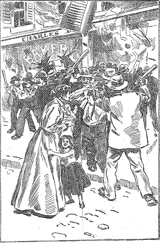 Germans being attacked by Nativists, published in the Louisville Courier-Journal, 1897