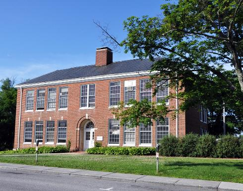 This former elementary school now holds Virginia Tech's departments of marketing and media relations.