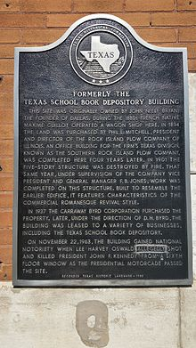 Texas historical marker for the Texas School Book Depository